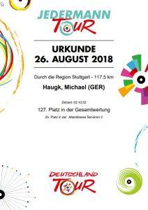 Urkunde vom Jedermann-Rennen in Stuttgart 2018